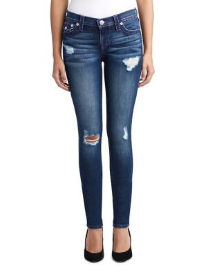 WOMENS DISTRESSED NEON STITCH SKINNY JEAN W FLAP