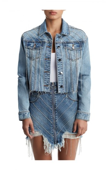 WOMENS CROPPED TRUCKER DENIM JACKET W/ CRYSTALS