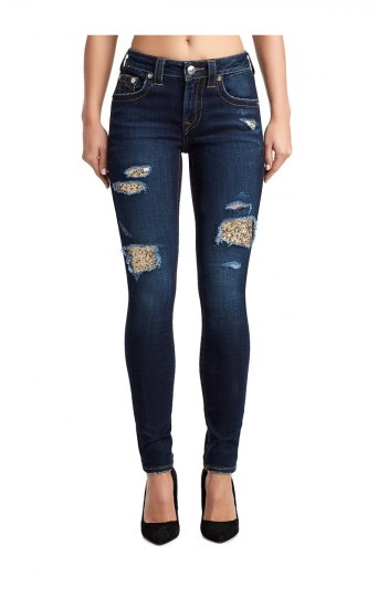 WOMENS SEQUIN RIPS JENNIE CURVY SKINNY JEAN