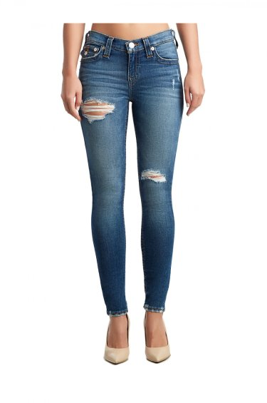 image of WOMENS DESTROYED HEM HALLE SUPER SKINNY JEAN W/ FLAP