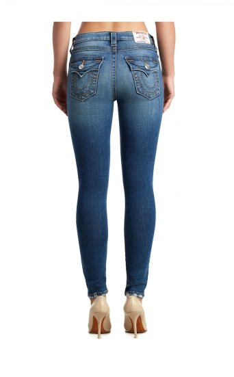 WOMENS DESTROYED HEM HALLE SUPER SKINNY JEAN W/ FLAP