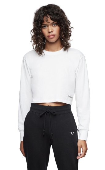 SOLID LONG SLEEVE CROP TEE