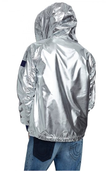 METALLIC SILVER HOODED BOMBER