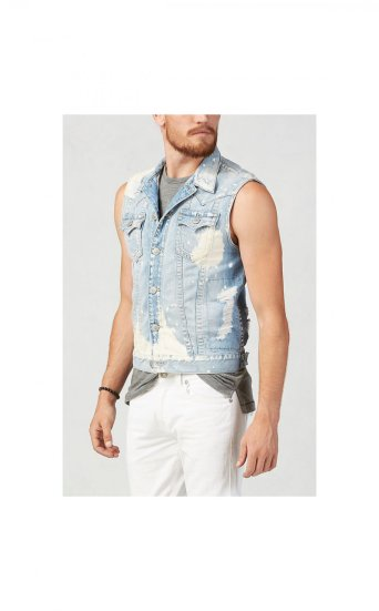 BLEACHED WASH VEST JIMMY VEST