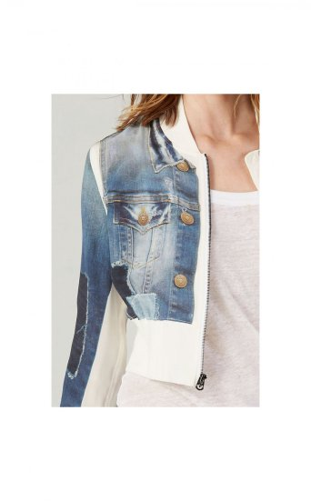 DENIM PRINTED SILK BOMBER JKT
