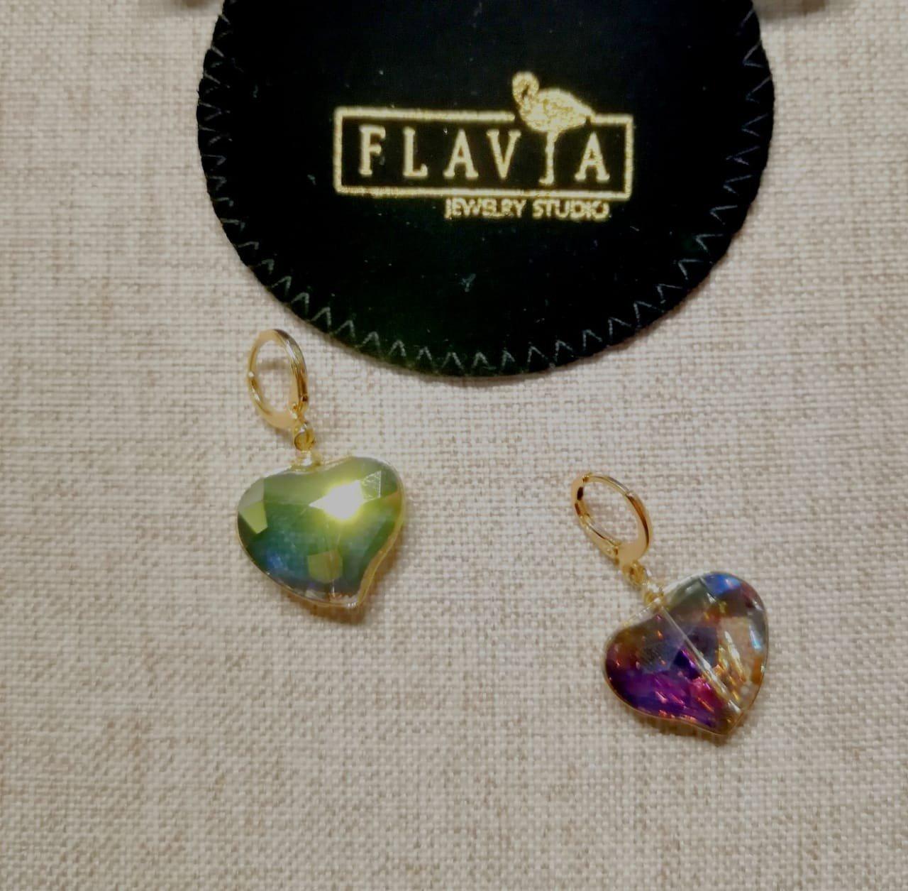 Aretes Cristales. Chapa de Oro. Cristales