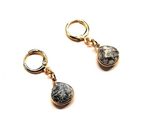 Aretes Chapa de Oro. GEMA: Labradorita Labradorita