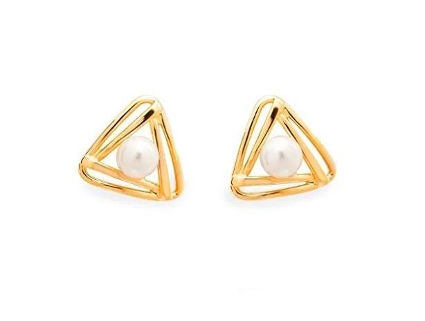 Aretes Triangulo Aperlado Dorado
