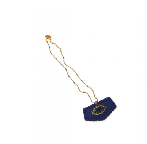 Collar Artesanal Piel y Cristal azul