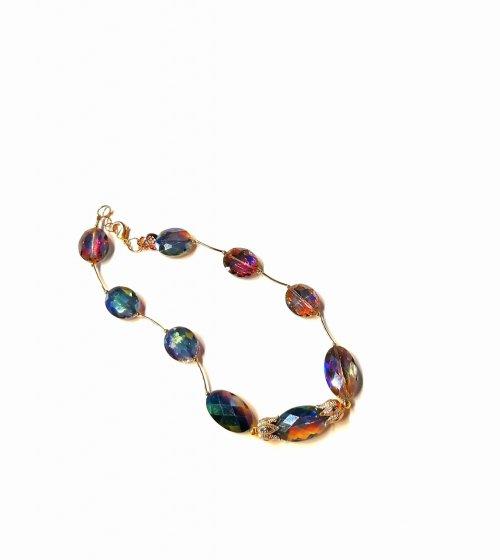 Collar cristales. Chapa Oro Cristales/Chapa Oro
