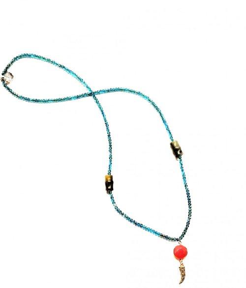 Collar de Calcedonia y Aventurina y cristales Calcedonia/Aventurina