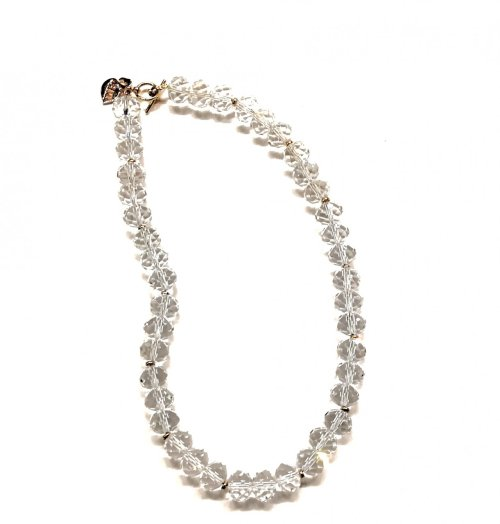 Collar de cristales transparentes. Chapa de Oro Cristal