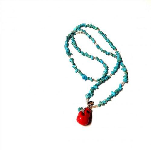 Collar de cristales y dije de GEMA: Coral y Turquesa Coral turquesa