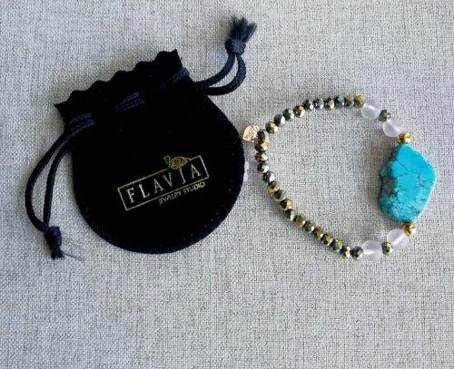 Pulsera Turquesa/Cristales. Chapa Oro azul