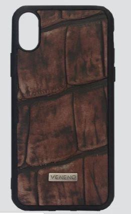 Phone case iphone XS cocodrilo café