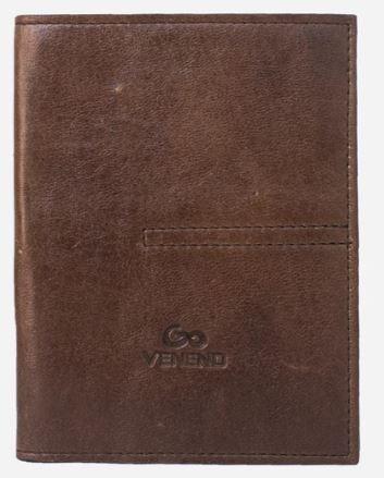 Porta pasaporte vacuno sencillo café