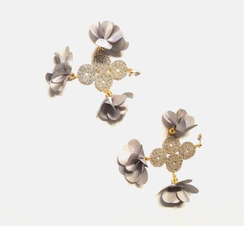 Aretes aro grande c/ cristales y flor